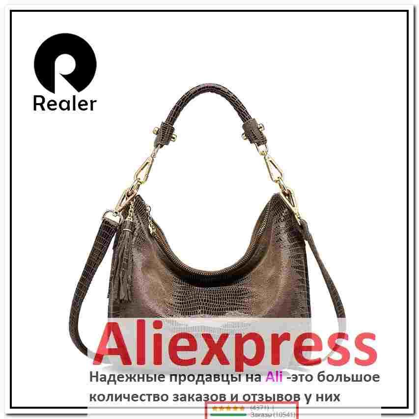 a3ddad253860 алиэкспресс женские сумки распродажа, REALER бренд женская сумка хобо из  натуральной кожи через плечо со